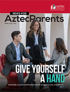 cover photo of news for aztec parents magazine with photo of students talking on steps