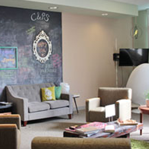 the center for well being with chalk wall and comfy chairs