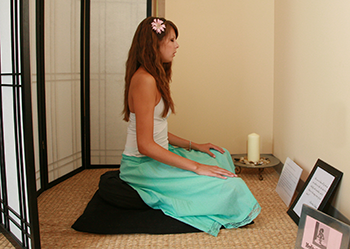 female meditating in c&ps wellness center