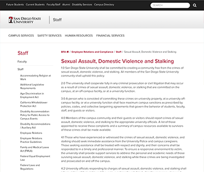 screenshot of statement of sexual assault site