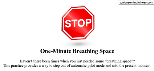 STOP sign. One-minute breathing space. This practice provides a way to step out of autopilot and into the present.