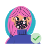 ILLUSTRATION of girl with pink hair wearing mask