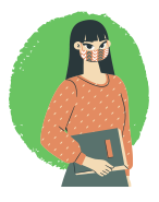 illustration of girl student weating skirt holding book and wearing mask