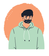 illustration of male student in green hoodie wearing black mask