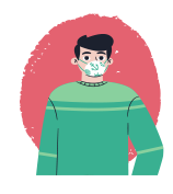 ILLUStration of male student in green sweater wearing mask