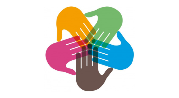 colorful hands intersecting