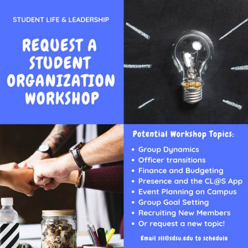 photo of lightbulb and hands coming together with text - request a student organization workshop. see details below