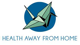Oragami bird with Health Away From Home graphic