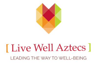 Logo: live well aztecs: leading the way to well being