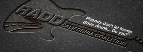 RADD guitar shape with words: Friends don't let friends drive drunk. Do you?