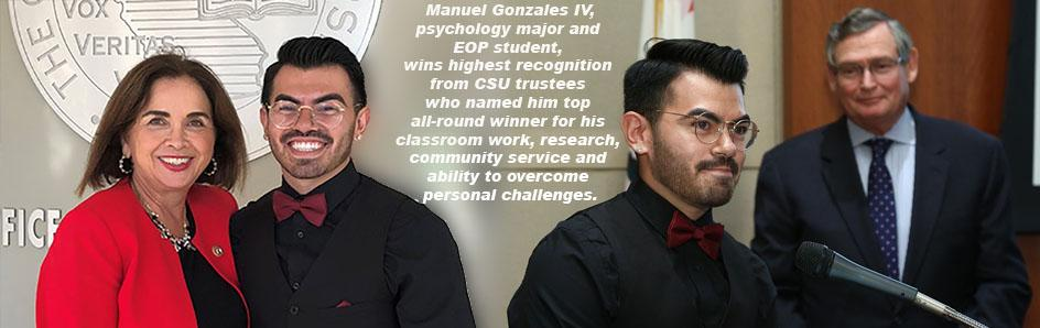 Manuel Gonzales IV wins highest recognition from CSU trustees.