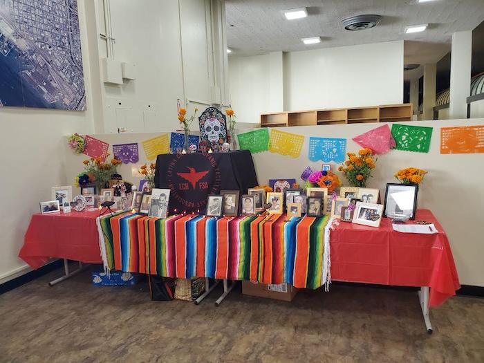 group picphoto of dia de los muertosdecorated table