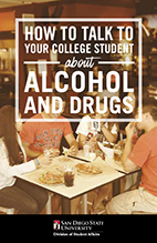 cover of guide book for how to talk to your college student about alchohol and drugs. Photo of students at bar.