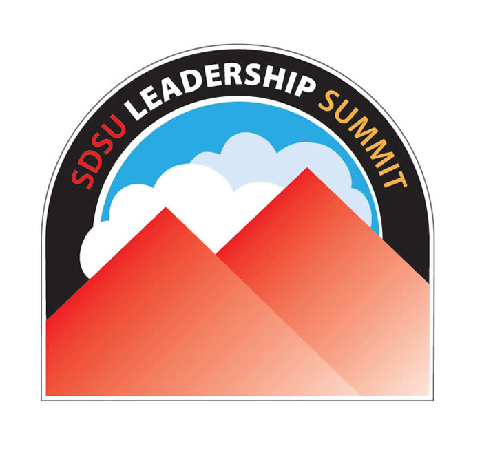 leadership summit logo - arch shape with mountain peaks, clouds and sky